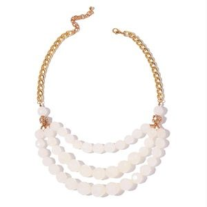 Chroma Beads, White Austrian Crystal Goldtone Drap
